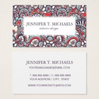 Paisley Floral Doodle Pattern Business Card