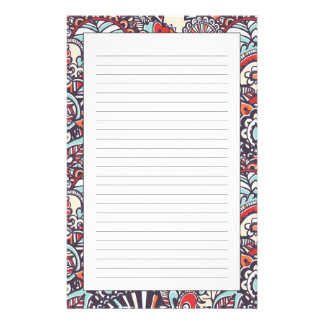 Paisley Floral Doodle Pattern Custom Stationery