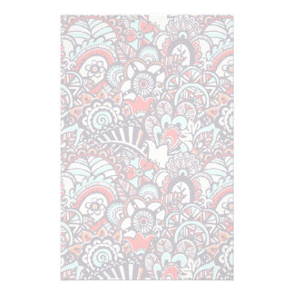 Paisley Floral Doodle Pattern Personalized Stationery