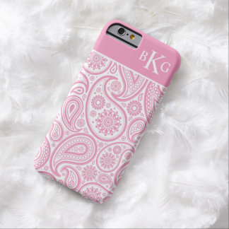Paisley Floral Pattern & Monogram | Pink Barely There iPhone 6 Case