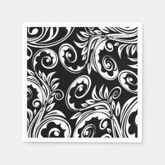Paisley floral pattern swirl black white disposable napkins