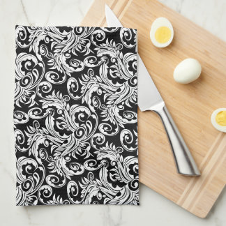 Paisley floral pattern swirl black white kitchen towel