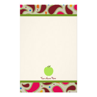 Paisley & Green Apple Personalized Teacher Stationery Design