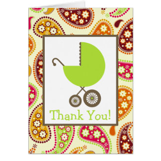 Paisley & Green Carriage Baby Shower Thank You Card