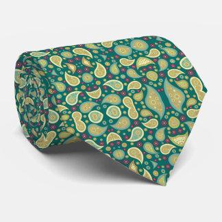 Paisley Green Khaki Purple Tie