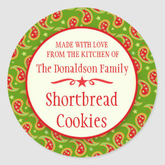 Paisley green red cookie swap baking gift stickers