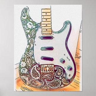 Paisley Guitar Print