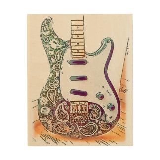 Paisley Guitar Wood Wall Art