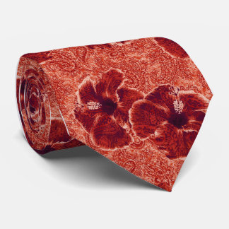 Paisley Hibiscus Retro Single-side Printed Tie