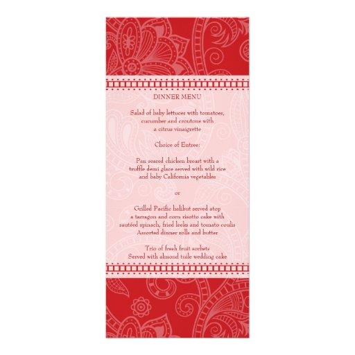 Paisley Impression in Crimson Menu Rack Card
