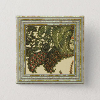 Paisley In Green And Beige 2 Inch Square Button