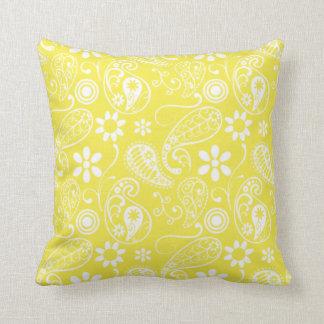 Paisley jaune citron oreillers