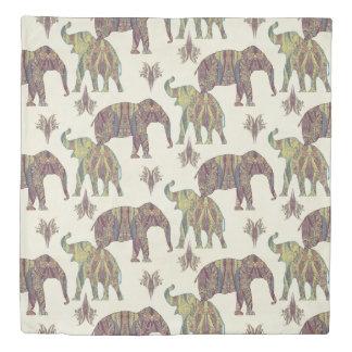 Paisley Kashmir BOHO Vintage Silhouette Elephants Duvet Cover