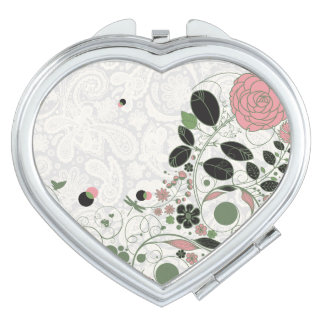 Paisley Lace & Retro Flowers 7 - Compact Mirror