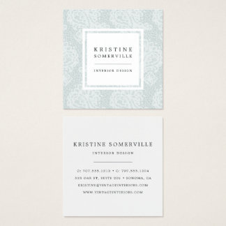 Paisley Lace Square Business Cards | Iced Aqua
