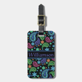 Paisley on Black Luggage Tag