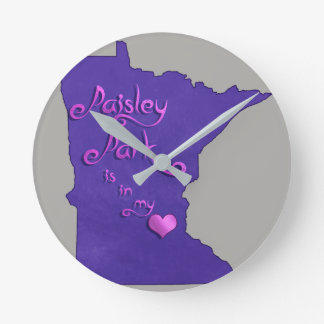 Paisley Park is in my heart Round Clock