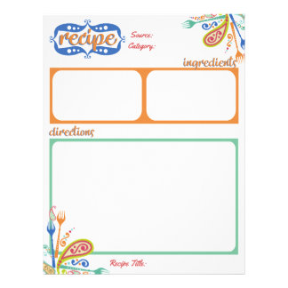 Paisley party forks cookbook recipe letterhead
