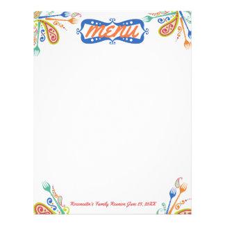 Paisley party forks menu letterhead stationery