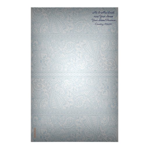Paisley Passion - Blue (Henna) Customized Stationery