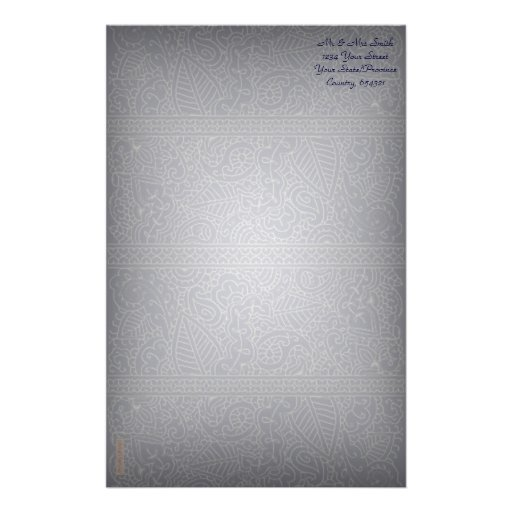 Paisley Passion - Silver Effect (Henna) Stationery Design