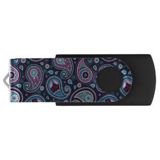 Paisley Patern blue, teal, violet elegant USB Flash Drive