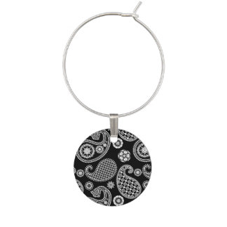 Paisley pattern, Black and White Wine Glass Charms