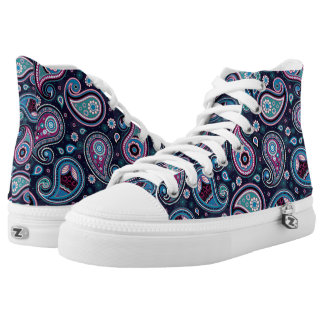 Paisley pattern blue ans purple high tops