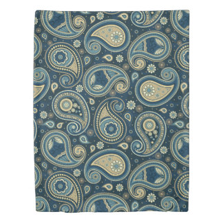 Paisley pattern blue teal gold elegant duvet cover