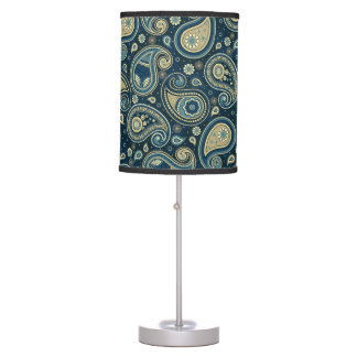 Paisley pattern blue teal gold elegant table lamp