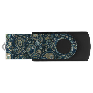 Paisley pattern blue teal gold elegant USB flash drive