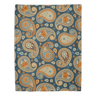 Paisley pattern blue teal orange elegant duvet cover