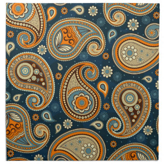 Paisley pattern blue teal orange elegant napkin