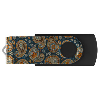 Paisley pattern blue teal orange elegant USB flash drive