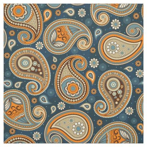Paisley pattern blue teal orangecolor fabric