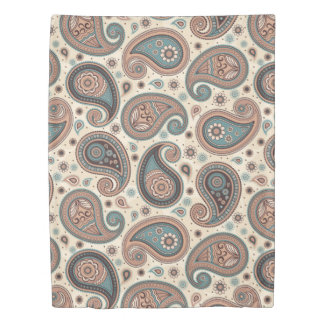 Paisley pattern brown teal beige elegant duvet cover