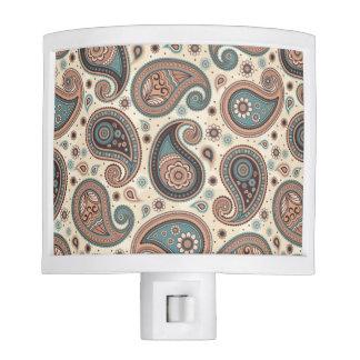 Paisley pattern brown teal beige elegant night light