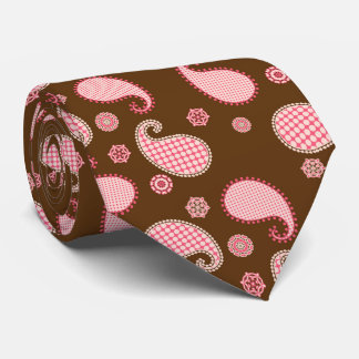 Paisley pattern, coral pink and chocolate brown tie