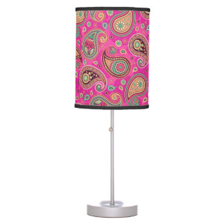 Paisley pattern cute girly pink elegant table lamp