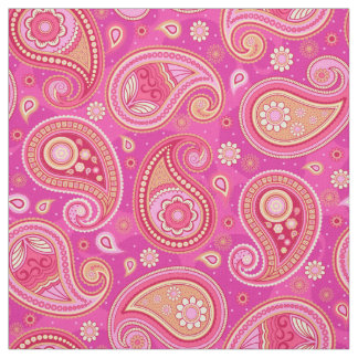 Paisley pattern cute girly pink fabric