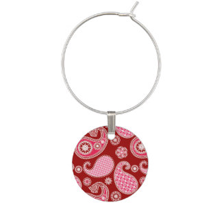 Paisley pattern, Dark Red, Pink and White Wine Charms