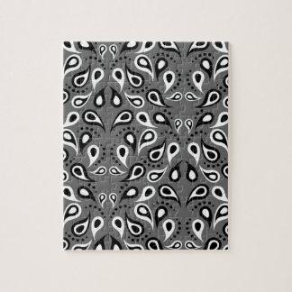 Paisley Pattern Design Print Black Jigsaw Puzzle