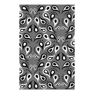 Paisley Pattern Design Print Black Stationery