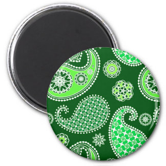 Paisley pattern, Emerald and Jade Green 2 Inch Round Magnet