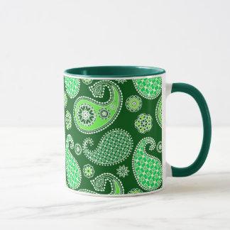 Paisley pattern, Emerald and Jade Green Mug