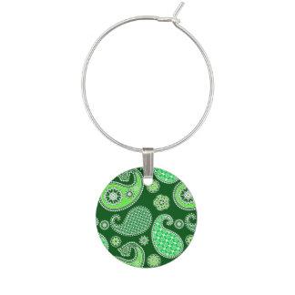 Paisley pattern, Emerald and Jade Green Wine Charm
