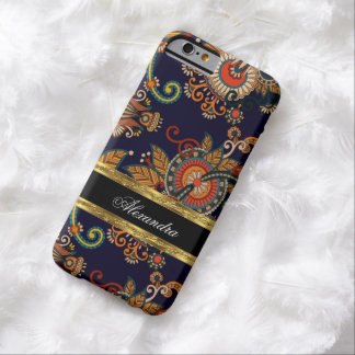 Paisley Pattern Floral Blue Red Brown Gold Barely There iPhone 6 Case