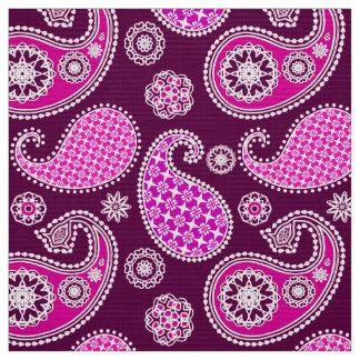 Paisley pattern, fuchsia pink, purple and white fabric