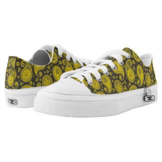 Paisley pattern grey and yellow Low-Top sneakers