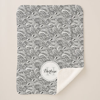 Paisley pattern ink mono name sherpa blanket